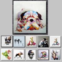 ingrosso pitture animali per bambini-Mintura arte dipinta a mano acrilici su tela Olio colorato Cane moderni Astratto Animal Wall Art Kid Room Decor Senza cornice
