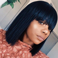 Wholesale african american human hair bob wigs for sale - Group buy Bob Short Wigs With Bangs Glueless Front Lace Wigs Human Brazilian Virgin Hair Full Lace Bob Wig With Full Bang For African Americans