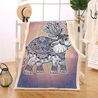 Wholesale indian beds online - BlessLiving Royal Elephant Blanket Turtle Sherpa Flannel Fleece Blankets Mandala Lotus Bed Couch Indian Art Pretty Pink Bedding