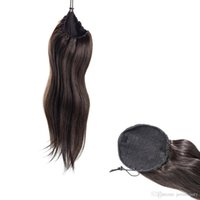 echte gerade indische haarverlängerung groihandel-Indian Natural Black Straight Jungfrau Drawstring Pferdeschwanz Schachtelhalm 14 bis 30 Zoll Weben Körperwelle Echthaar Pferdeschwanz Extensions