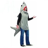 ingrosso costumi neri-Halloween Mens Funny Shark Costumes Tema Costumi mascotte dei cartoni animati Costume classico da festa di Halloween Abbigliamento da uomo