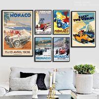 Wholesale race car games resale online - J118 Grand Prix Of Monaco Vintage Super Racing Car Retro Monaco Race Motor Game Gift Wall Art Decor Painting Poster Canvas