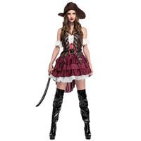 kostüm für erwachsene piraten großhandel-Sexy Frauen Halloween Piraten Kostüm Erwachsene Phantasie Karneval Party Kleid Hohe Qualität Maskerade Cosplay Zeigen One size