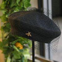 boina elegante al por mayor-Elegante boina vintage casquillo negro de malla moda sombrero de paja hecho a mano fino crochet damas verano viento boina de vacaciones