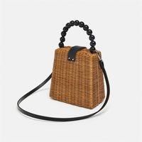 Wholesale woven rattan tote bag for sale - Small Box Tote Straw Bag Portable Shoulder Handmade Women Rattan Woven Beach Hand Bags For Female Ladies Handbag Fashion Totes J190513