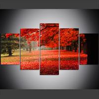natureza pintura a óleo venda por atacado-5 Peça Grande Tamanho Da Arte Da Parede Da Lona Pictures Criativo Parque Natureza Folhagem de Outono Cópia Da Arte Pintura A Óleo para Sala de estar