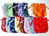 Wholesale large satin drawstring bags for sale - Group buy Embroidery Fruit Large Party Christmas Gift Bags with Handles Satin Drawstring Wedding Party Favor Bags Women Coin Purse Party Favors