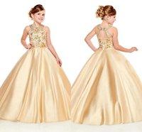 çiçek kız payet üst elbiseler toptan satış-2020 Altın Kızlar Yarışması Elbise Halter A Hattı Altın Boncuk Kristaller En Uzun Bebek Çocuk Örgün doğum günü partisi törenlerinde Çiçek Kız Giyim BC3012