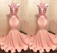 Wholesale peach mermaid evening dresses resale online - 2019 Real Photos High Neck Peach Pink Mermaid Prom Dresses Sexy Keyhole Appliqued Top Ruffles Train Long Evening Gowns Vestidos BC1159