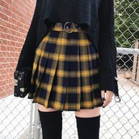 sarı katlı etek toptan satış-İlkbahar Yaz Harajuku Kadın Moda Etekler Sevimli Sarı Siyah Kırmızı Kafes Pileli Etek Punk Tarzı Yüksek Bel Kadın Kısa Etek MX190714