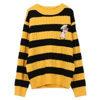 suéter negro a rayas amarillas al por mayor-Makuluya mujeres amarillo negro raya cerdo bordado Twist tejido de punto de cuello redondo Casual High Street suéter suéteres Tops QW