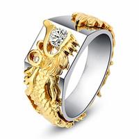 bagues d'articulation de bande d'or achat en gros de-Bague en argent plaqué or à la mode avec des cristaux de zircon blanc et blanc en forme de dragon