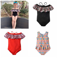 23ef7eb636029 2019 children floral one-pieces summer hot sale kids girl solid color mini  dresses swimwear beach swimsuit