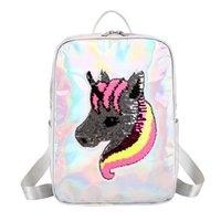 Wholesale new free run colors for sale - Group buy Free DHL New Cute Unicorn Sequin Backpack Cartoon Shoulder Bags Children School Backpacks Colors Girls Kids Knapsack Xmas Gift M195F