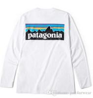 ingrosso t-shirt bianche lunghe da uomo-PATAGONIA manica lunga girocollo T-shirt Moda Uomo Marca Tees Hommes T-Shirts Donna Casual allentato Tees Mountain Peak Lovers Stampa maglietta bianca