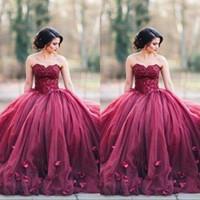vestidos de quinceanera sem alças reais venda por atacado-Borgonha Strapless vestido de Baile Princesa Quinceanera Vestidos de Baile de Renda Corpete Basco Cintura Sem Encosto Longo Vestidos de Noite Personalizado