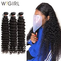 paquetes de pelo brasileño de 28 pulgadas al por mayor-Wigirl Brazilian Hair Weave Bundles Deep Wave 100% cabello humano 28 30 pulgadas Rizado doble dibujado Raw Virgin Hair Extension Vendedores 3 T190724