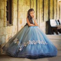 teens hellblaue kleider großhandel-Schöne Cinderella Ballkleid Mädchen Festzug Kleider 2020 Hellblau Spitze Applique Puffy Tüll Kleinkinder Teens Mädchen Festzug Kleid