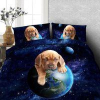 engraçado galáxia venda por atacado-Engraçado Alpaca / pavão / Cão / Gato de impressão conjunto de capa de cama 3 pcs crianças universo galaxy cama folha lifelike animal conjunto de cama Rei gêmeo