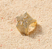zirkonya tek taş yüzükleri toptan satış-14 K Altın CZ Süper Yıldız Şekli Solitaire Küme Yüzükler Kübik Zirkonya Mikro Açacağı Simüle Elmas Yüzük hediye Kutusu ile