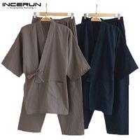 erkek pamuklu pijama takımları toptan satış-Erkekler Kimono Pijama Japon Tarzı Pamuk Gecelik Pantolon Set Bornoz Düz Renk Retro Rahat Rahat Pijama Takım Elbise Erkekler 5XL