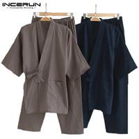 männer taille mantel hose großhandel-Männer Kimono Pyjamas Japanischen Stil Baumwolle Homewear Tops Hosen Set Bademantel Einfarbig Retro Lässig Comfy Nachtwäsche Anzüge Männer 5XL