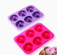 moldes para la venta al por mayor-¡Gran venta! Molde de Donut antiadherente de 6 cavidades Herramienta de pastel de muffin de donut Vajilla de silicona para hornear Molde para hornear Molde Molde para hornear KBM4012