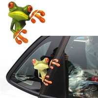 Wholesale car window toys resale online - New Cute D Stereo Frog Car Sticker Car Laptop Luggage Bike Decal Toy Sticker styling Window Decal Kids Room Wall