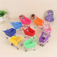 Wholesale toy supermarket shop resale online - Mini Plastic Shopping Cart Simulation Supermarket Garden Carts Girls Toys Opp Package High Quality With Various Color tc J1