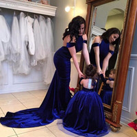 Wholesale mother daughter color wedding dresses for sale - Group buy Royal Blue Mother Daughter Dresses Ball Gown Girls Party Pageant Dress Detachable Long Sleeves Velvet Winter Flower Girl Dress For Wedding