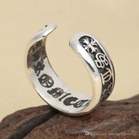 antike silberne offene ringe großhandel-Personalisierte Marke 925 Sterling Silber Ringe Vintage amerikanischen Stil Schmuck handgefertigte Antik Silber verstellbare offene Designer-Ringe für Herren