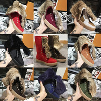Wholesale rabbit fur high heels fashion resale online - Women Winter Booties Real Rabbit Fur Snow Boots Designer Shoes Real Leather Australia Classic Kneel Flat Boots with BOX US11