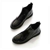 Wholesale black patent thick soled shoes for sale - Group buy 2018 New Flat with Black Boots flat single boots pointed short tube thick soled shoes ankle women s