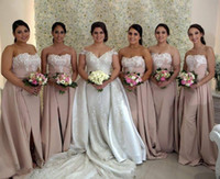 Wholesale strapless light blue bridesmaid dresses resale online - Mermaid Bridesmaid Dresses With Overskirt White Applique Lace Pearl Pink Long Women Prom Evening Party Gowns