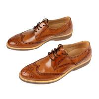 ручной работы оптовых-Handmade Men Genuine Leather Dress Shoes High Quality Italian Design Brown Black Color Round Toe Wedding Shoes JS-A0023