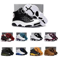 sapatos de patentes de meninos venda por atacado-Nike air jordan 13 retro Barato meninos e meninas retro j13s tênis de basquete Preto Cap Patente e Gama Gama Azul novo 2019 meninos crianças Jumpman XIII tênis botas