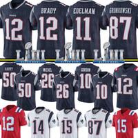 brady formaları toptan satış-12 Tom Brady New Englan Patriots Forması 11 Julian Edelman 87 Rob Gronkowski 26 Sony Michel Forması N'Keal Harry Gordon Formaları Aşçılar