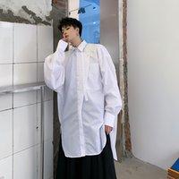 paçavra gömleği toptan satış-Erkekler Streetwear Hip Hop Uzun Kollu Düzensiz Pat Tasarım Gevşek Casual Gömlek Erkek Japonya Parti Elbise Gömlek Sahne Giyim