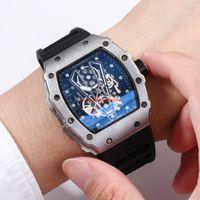 прозрачные кварцевые мужчины оптовых-2019 горячие продажи автоматические скелет кварцевые часы для человека, чтобы покинуть берег фон прозрачный синий циферблат часы моды досуг пояса