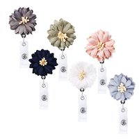Wholesale id card accessories for sale - Group buy DHL Shipping Hand woven Flower Retractable Badge Reel Clip Keychain Doctor Nurse ID Name Card Holder Buckle Work Accessories N125Y F