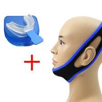 anti-horlama burun şeritleri toptan satış-Anti Horlama Çene Kayışı Kemer Çene Destekçisi Burun Şeritleri CPAP + Durdur Horlama Çözüm Ağız Adet Uyku Apnesi Gece Guard TMJ