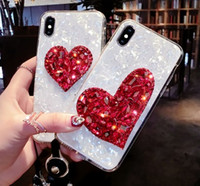 Wholesale iphone shell diamond red online – custom Glitter Diamond Cases Dream Shell Pattern Phone Case with Strap For iPhone XR XS Max S Plus Soft Silicone Cover