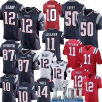 brady formaları toptan satış-Yeni Englan Patriots Forması 12 Tom Brady 50 N'Keal Harry Forması 87 Rob Gronkowski 11 Julian Edelman Chris Hogan Josh Gordon Formaları
