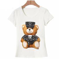 weißer teddybär großhandel-Neue Sommer Mode Frauen Kurzarm Super Niedliche Vogue Bär Teddy T-shirt Weiß Tops Cool Hipster Tees