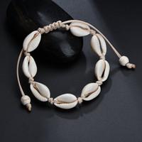 pulseira boêmio venda por atacado-VSCO menina Shell Braceletes Bohemian Handmade Seashell trançado ajustável corda Bangles Mulheres Mão Knit bracelete frisado Beach jóias