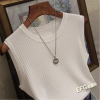 Februaryfrost Women Knitted Vests Top O-neck Solid Tank Fashion Female Sleeveless Casual Thin Tops Summer Knit Shirt