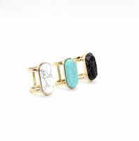 anillo de piedra natural chapado en oro. al por mayor-Moda anillo de piedra natural geometría oval blanco azul turquesa anillo chapado en oro para joyería de las mujeres