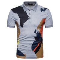 серые мужские рубашки поло оптовых-Camouflage Print Polo Shirt Men Crew Neck White And Gray Color Large Size Short Sleeve Tops Shirt