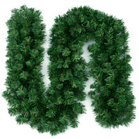 Wholesale plastic wreaths resale online - Artificial Green Christmas Garland Wreath Xmas Home Party Christmas Decoration Pine Tree Rattan Hanging Ornament for Kids M