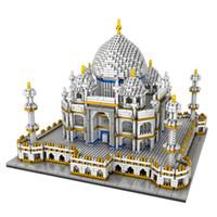 bloques de arquitectura al por mayor-Bloque de tamaño nano Kit de construcción del Taj Mahal indio Modelo de arquitectura mundial Creador en miniatura Experto Diamante Mini juguete de ladrillo para niños Niños